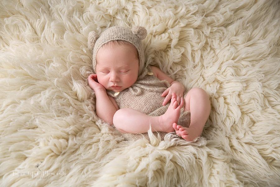Baby, bear outfit, cute, sleeping, newborn photoshoot